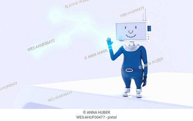 Robot pushing shining button, 3d rendering