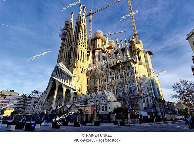 ESP , SPAIN : The Sagrada Familia church in Barcelona , 04.01.2018 - Barcelona, Catalonia, Spain, 04/01/2018