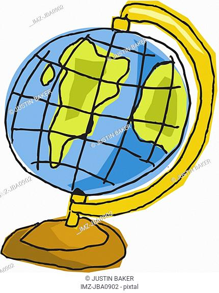 A drawing of a globe on a white background