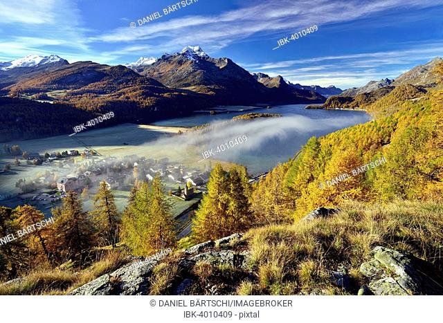 Views of Lake Sils and Piz da la Margna in autumnal Upper Engadine, fog above the valley, Sils-Baselgia, Engadin, Grisons, Switzerland