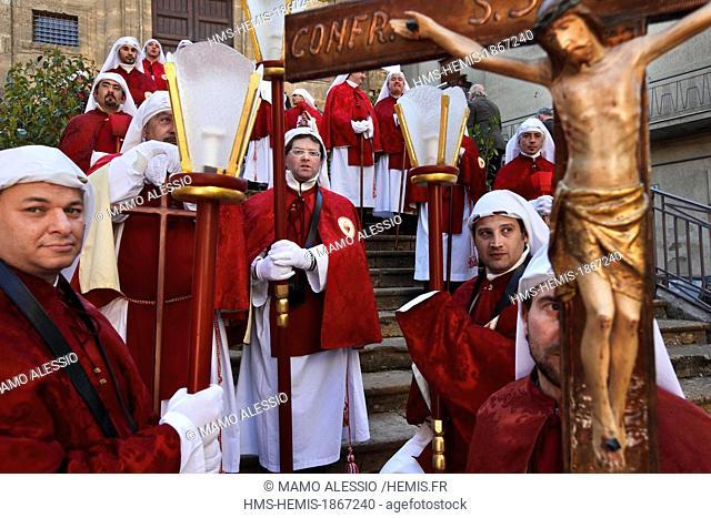 Italy, Sicily, Enna, procession of Good Friday