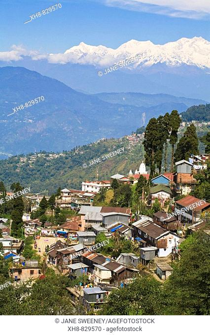 View of Darjeeling and Kanchenjunga, Kangchendzonga range from Merry Resorts, Darjeeling, West Bengal, India