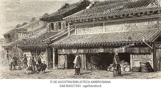 A street in Benten-Dori in Yokohama, Japan, drawing by Emile Therond (1821-?) from a watercolour by A Roussin, from Japan by Aime Humbert (1819-1900), 1863-1864