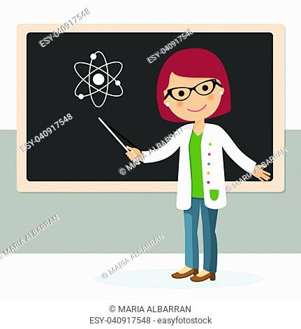 Young female teacher on science lesson at blackboard in classroom. Teacher with pointer, teacher showing on board. Vector illustration