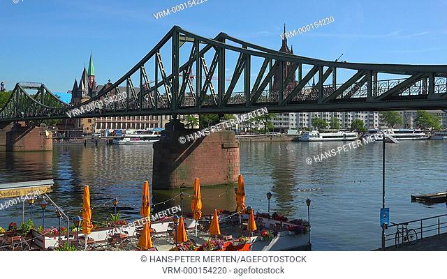 Eiserner Steg Bridge and Main River, Frankfurt am Main, Hesse,Germany