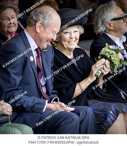 Princess Beatrix of The Netherlands with Museum founder Jos de Pont opens the jubilee Exhibition WeerZien at Museum de Pont on September 16, 2017 in Tilburg