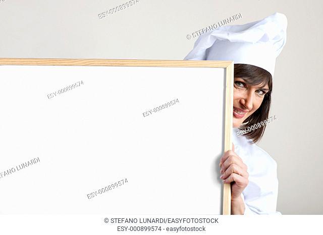 Female Chef with Blackboard