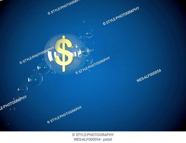 Illustration of dollar symbol floating in bubbles