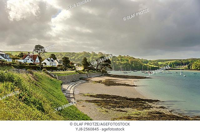 Dramatic cloud formation at the coastline of the fishing village St. Mawes at the Cornish Coast near Falmouth, Cornwall, England, UK
