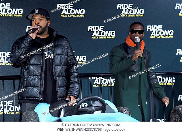 Ice Cube and Kevin Hart promoting their movie 'Ride Along: Next Level Miami (Ride Along 2) during Ri­de-Along-Ber­lin-Truck-Stunt event at Sony Center am...