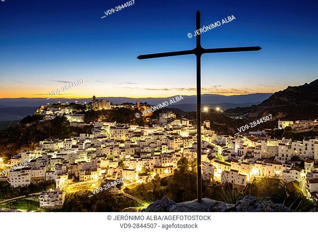 Panoramic at dusk. White village of Casares, Malaga province Costa del Sol. Andalusia Southern Spain, Europe