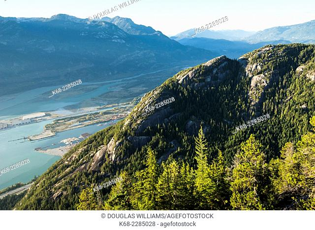 view of The Chief, mountain next to Squamish, on Howe Sound, British Columbia, Canada