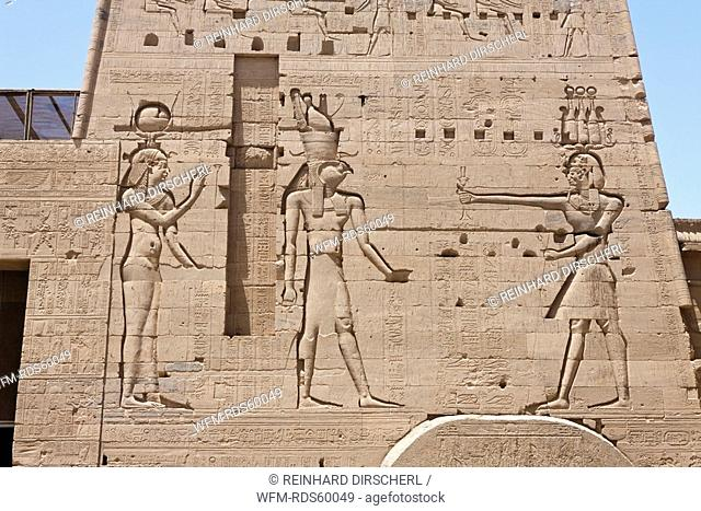 Reliefs at Temple of Isis on Philae Island, Aswan, Egypt