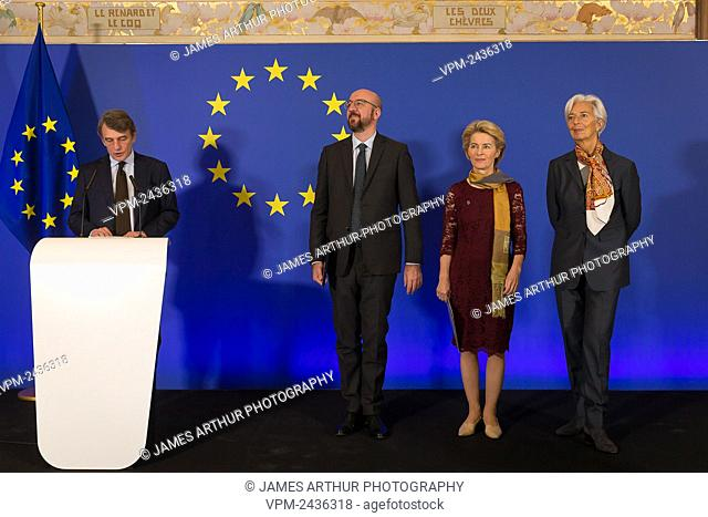 David Sassoli, European Council President Charles Michel, New European Commission President Ursula Von der Leyen and European Central Bank President Christine...