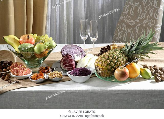Christmas vegetables and fruits still life