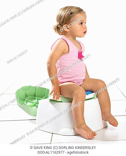 Toddler girl on potty, 1.5 years
