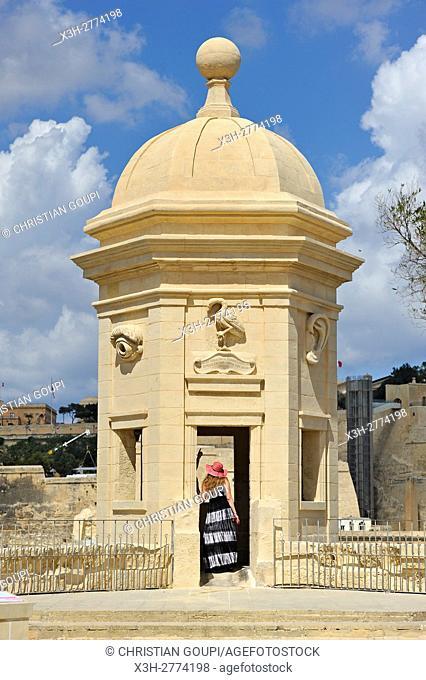 The Gardjola at Senglea (Isla), Three Cities in front of Valletta, Malta, Southern Europe