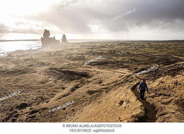 Londrangar Rock path and lava fields in Snæfellsnes peninsula (region of Vesturland, Iceland)