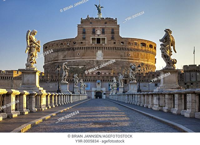 Early morning view across Ponte Sant Angelo to Castel Sant Angelo - the Mausoleum of Hadrian, Rome, Lazio Italy