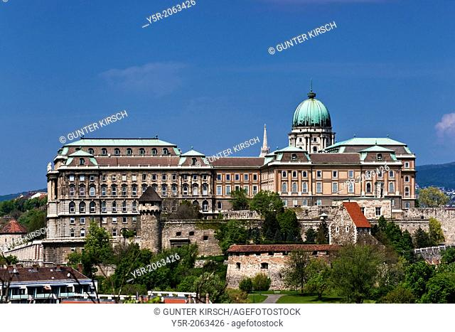 Buda Castle on Castle Hill in the Castle District is the largest building in Hungary and the most famous building in the capital Budapest, Hungary, Europe