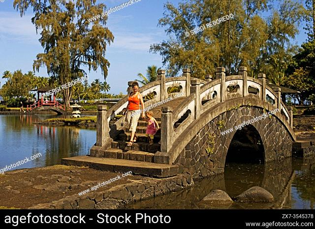 Japanese-style garden Lili'uokalani Park in Hilo. Big Island. Hawaii. USA. It has bridges, koi ponds, pagodas, statues, torii and a Japanese teahouse