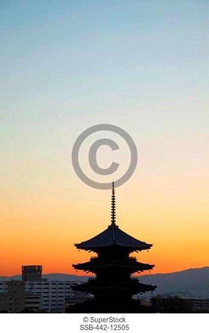 Silhouette of a temple, Toji Temple, Kyoto Prefecture, Kinki Region, Honshu, Japan