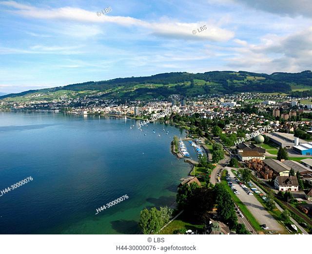Luftaufnahme der Stadt Rorschach am Bodensee