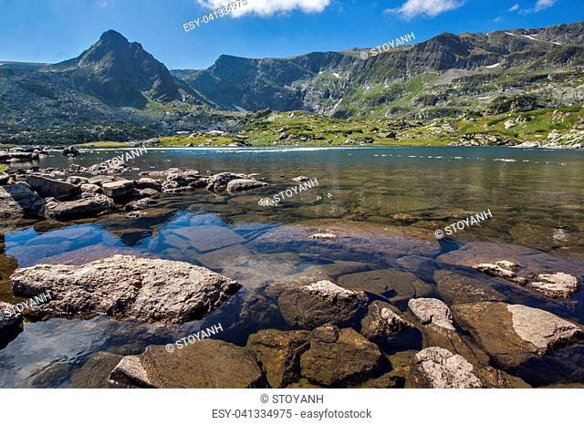 Amazing view of The Trefoil lake, Rila Mountain, The Seven Rila Lakes, Bulgaria