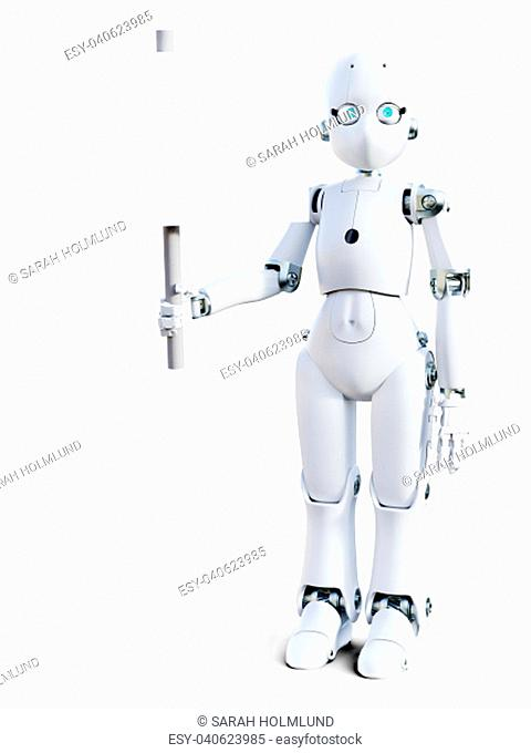 3D rendering of a white friendly cartoon robot holding a blank sign in its hand. White background