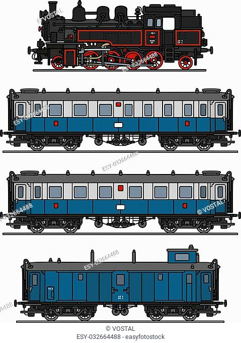 Hand drawing of a classic blue steam train