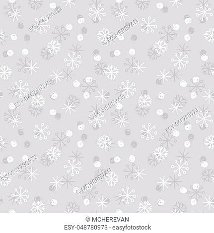 Vector Seamless Winter Pattern Background with White and Grey Snowflakes on Silver Grey Background. Can be used for textile, parer, scrapbooking, wrapping