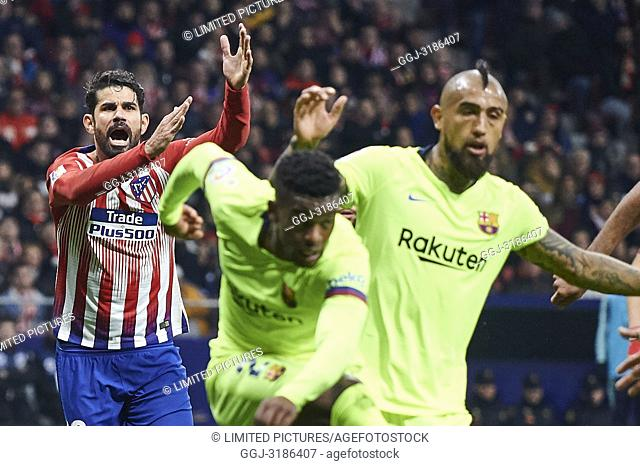 Diego Costa (forward; Atletico Madrid) before La Liga match between Atletico de Madrid and F.C. Barcelona at Wanda Metropolitano on November 24, 2018 in Madrid