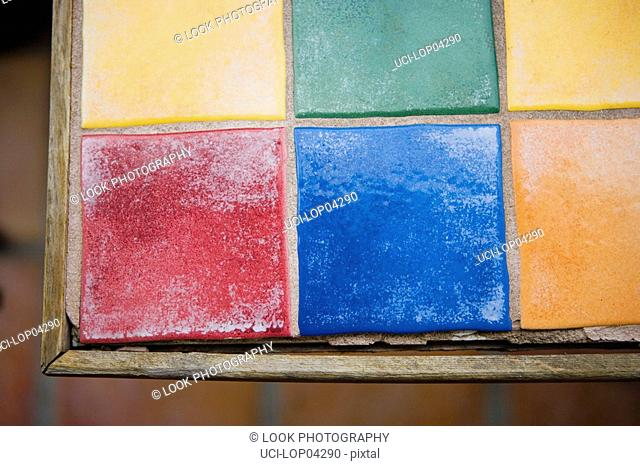 Colorfully Tiled Table