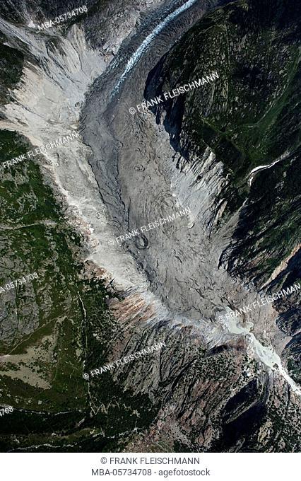 Fieschergletscher in the Goms, aerial shots, Valais, Switzerland