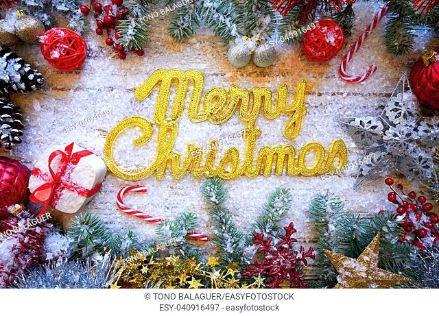 Merry Christmas spell word on white snow background