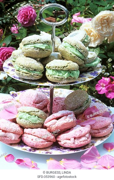Macarons on a tiered stand out of doors