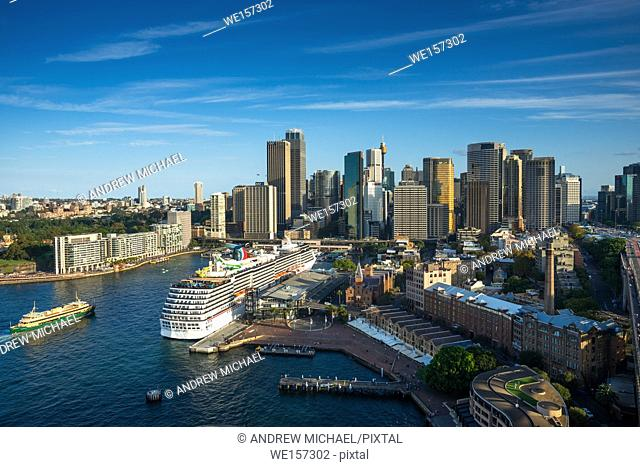 """Sydney skyline with """"""""The Rocks"""""""" in foreground and skyscrapers of the CBD to the rear. Sydney, New South Wales, Australia"""