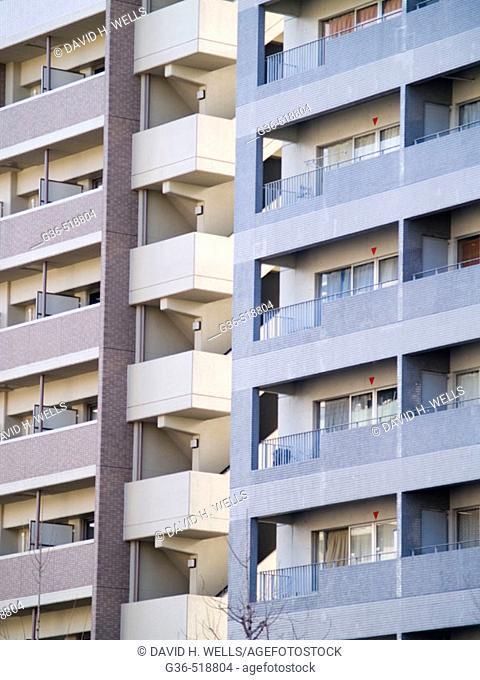 Facades of Japanese buildings in Kyoto, Japan