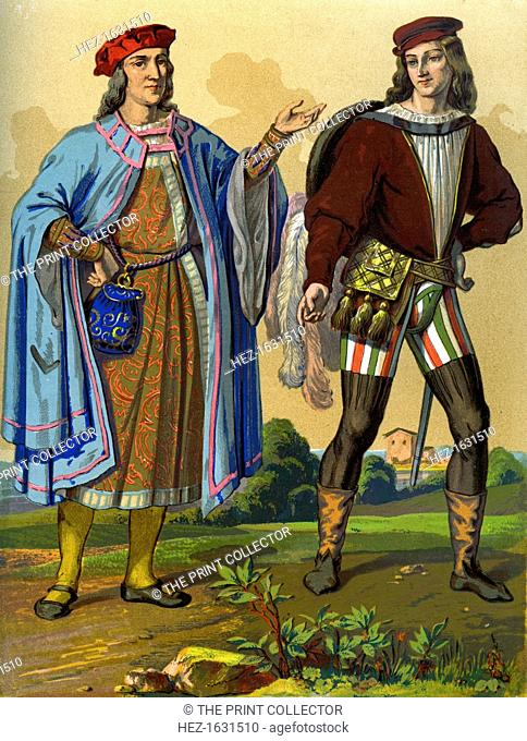 An English courtier of 1450 and an English gentleman of 1500 (1849). A 19th century version based on an original 1450 tapestry and a 1500 miniature from Roman...