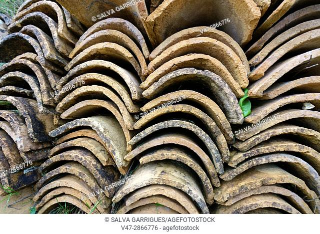 Tiles of an old house heaped for reuse, Spain, Europe