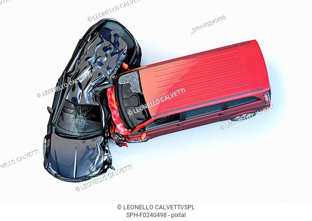 Two cars accident. Crashed cars. One red van against one black sedan. Big damage. Isolated on white background. Viewed from the top