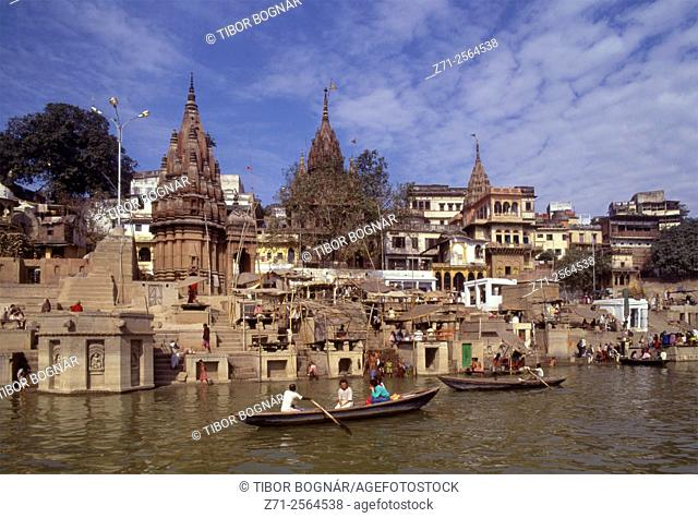 India, Uttar Pradesh, Varanasi, ghats on Ganges River, people,