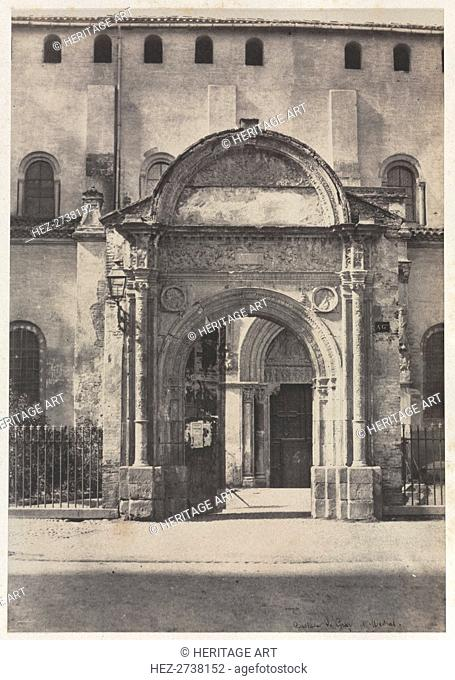 Porte Bachelier, Eglise Saint-Sernin, Toulouse (Haute-Garonne), 1851. Creator: Auguste Mestral (French, 1812-1884), and ; Gustave Le Gray (French, 1820-1884)
