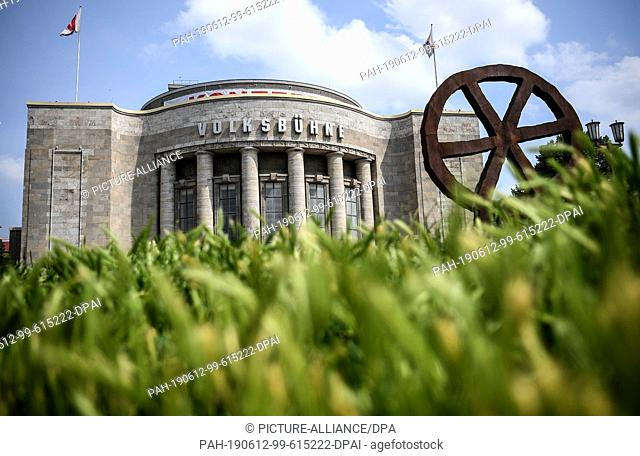 12 June 2019, Berlin: The Volksbühne with the robber wheel. Rene Pollesch, theatre director and author, will take over as artistic director for the 2021/22...
