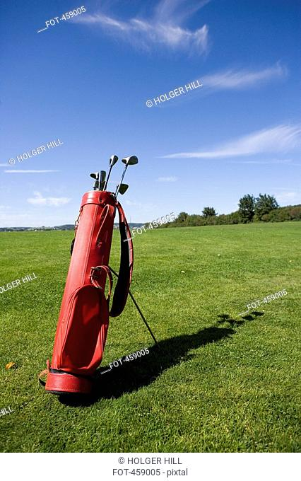 Golf bag on a golf course