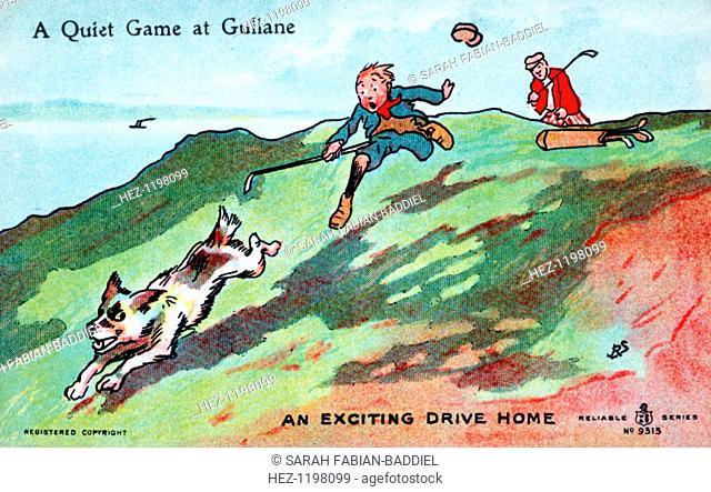 Postcard with golfing theme, c1900s-c1910s