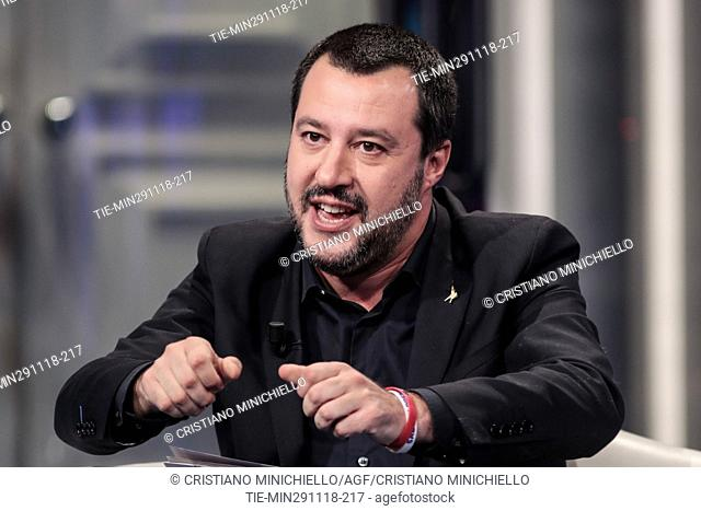 Italian Deputy Premier and Minister of Interior Matteo Salvini attends at the tv show Porta a porta in Rome, ITALY-29-11-2018
