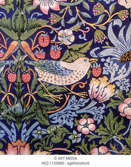 'The Strawberry Thief', 1883. Disilllusioned by Victorian mass-produced items, in 1861 William Morris (1834-1896) and friends founded Morris, Marshall