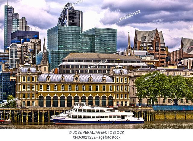 Old Billingsgate Market, Victorian building, River Thames, on background 30 St Mary Axe, Swiss Re Tower or The Gherkin, City of London, London, England, UK