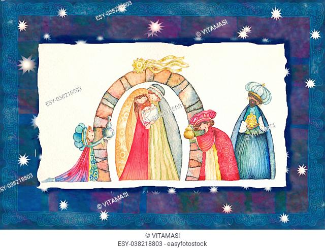 Christmas Nativity scene. Jesus, Mary, Joseph and the Three Kings